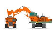 Excavatrice et camion à benne basculante géants de ridig dans une surface illustration de vecteur