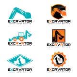 Excavatrice et scénographie d'illustration de vecteur de logo Photos stock