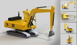 Excavatrice jaune Image libre de droits