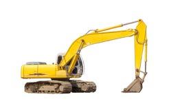 Excavatrice jaune d'isolement Image stock