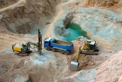 Excavatrice jaune, drague Photos libres de droits