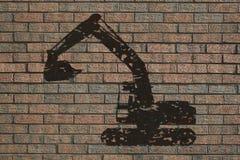 Excavatrice sur le mur illustration libre de droits