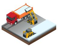 Excavatrices compactes isométriques Petit chat sauvage et camion d'excavatrice travaillant à la neige de nettoyage de rue d'isole illustration libre de droits