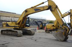 Excavatrices, nouvelle construction Images stock