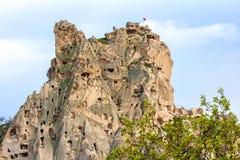 Excave la ciudad y oscila el valle del mountaine en Cappadocia, Turquía Imagen de archivo libre de regalías