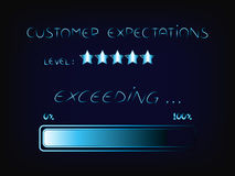 Exceeding customer expectations progress bar Royalty Free Stock Images