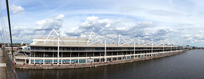 The ExCel Centre. A wide shot of the whole of the London ExCel centre standing on the footbridge above the marina, a huge and impressive large building stock photos