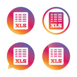Excel file document icon. Download xls button. Royalty Free Stock Photography