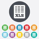 Excel file document icon. Download xls button. XLS file symbol. Round colourful 11 buttons Stock Images