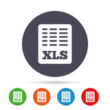 Excel file document icon. Download xls button. XLS file symbol. Round colourful buttons with flat icons. Vector Stock Images