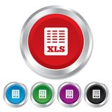 Excel file document icon. Download xls button. XLS file symbol. Round metallic buttons Stock Image