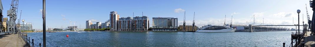 Excel-Jachthafen 180 Grad panoramisch Stockfoto