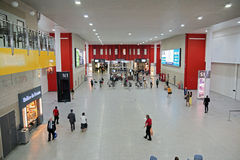 Excel London. Inside the Excel Exhibition Centre showing North and South ONE hall entrances and the many food kiosks in this large building stock image