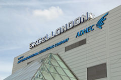 ExCel London. This photo shows the sign on the roof of the Excel London. This venue is popular for exhibitions and recently opened its doors for an assembly for royalty free stock images