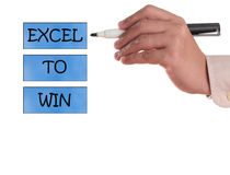 Excel to win. Abstract in a white background stock image