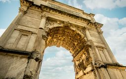 Excelent view of the arch of titus in via sacra, Rome. stock photography