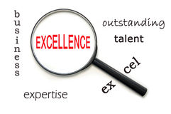 Excellence. Magnifying glass focusing on the word excellence stock images