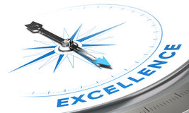 Excellence. Background concept. Compass needle pointing a blue word, decorative image suitable for left bottom angle of a page royalty free illustration