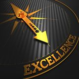 Excellence. Business Background. Excellence - Business Background. Golden Compass Needle on a Black Field Pointing to the Word Excellence. 3D Render royalty free stock photo