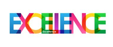 EXCELLENCE colorful overlapping letters banner. Vector.  Rainbow palette Stock Photography