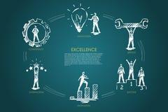 Excellence - compétence, innovation, service, satisfaction, concept réglé de motivation illustration stock