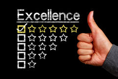 Excellence concept. Is on the blackboard with thumb up hand aside royalty free stock image