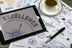 Excellence concept. Business excellence concept on touch screen royalty free stock photography