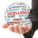 Excellence concept. Hand take transparet globe with excellence concept Royalty Free Stock Photography