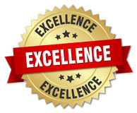 Excellence 3d gold badge. With red ribbon Royalty Free Stock Images