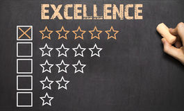 The Excellence five golden stars.Chalkboard Stock Photos