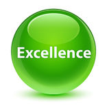 Excellence glassy green round button Stock Photos