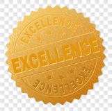 Gold EXCELLENCE Medal Stamp. EXCELLENCE gold stamp seal. Vector gold award of EXCELLENCE text. Text labels are placed between parallel lines and on circle vector illustration