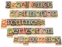 Excellence, greatness and perfection. Excellence, distinction, greatness, perfection and supremacy - a collage of isolated words in letterpress wood type blocks Royalty Free Stock Images