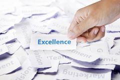 Excellence in hand. Excellence word in business hand Royalty Free Stock Photo