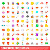 100 excellence icons set, cartoon style Royalty Free Stock Photo