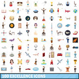 100 excellence icons set, cartoon style. 100 excellence icons set in cartoon style for any design vector illustration Royalty Free Stock Photo