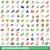 100 excellence icons set, isometric 3d style Royalty Free Stock Photography
