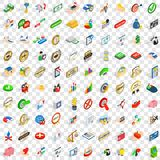 100 excellence icons set, isometric 3d style. 100 excellence icons set in isometric 3d style for any design vector illustration Stock Image