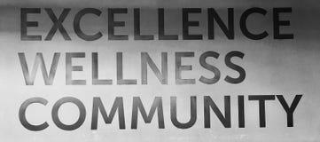 EXCELLENCE - LE SIGNE DE WELLNESS COMMUNITY MOTIVE ET INSPIRE DES TRAVAILLEURS Photo stock