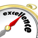 Excellence Word Gold Compass Great Direction Aiming Greatness. Excellence word on a gold compass to illustrate aiming for greatness and positive results in a Stock Image