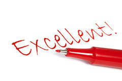 Excellent. Red felt pen with the word excellent written on white paper royalty free stock photo