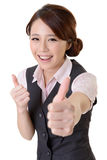 Excellent. Asian business woman give you excellent gesture, close up portrait on white background stock image