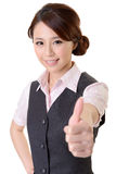 Excellent. Asian business woman give you excellent gesture, close up portrait on white background stock images