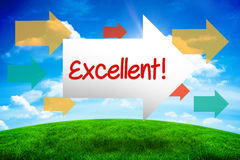 Excellent! against green hill under blue sky. The word excellent! and arrow against green hill under blue sky Royalty Free Stock Photography
