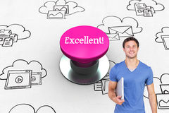 Excellent! against pink push button Royalty Free Stock Images