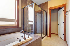 Excellent bathroom with brown hints. Stock Photography
