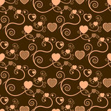 Excellent Brown Background With Hearts Stock Photography