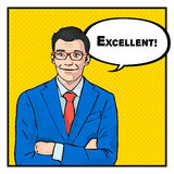Excellent businessman success concept retro style pop art. Vector stock illustration