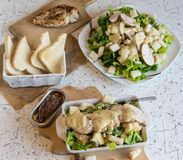 Excellent caesar salad with roasted pastry and chicken, sprinkled with parmesan cheese Royalty Free Stock Image