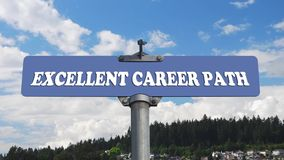 Excellent career path road sign with flowing clouds Stock Photos